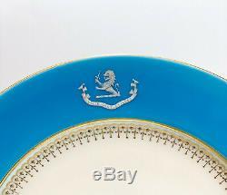 8 Minton England Porcelain Dinner Plates, c1910. John Wesley De Kay Armorial