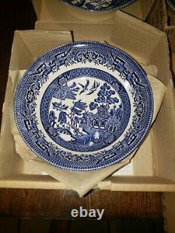 8 New! Churchill Blue Willow 4 fruit cereal bowls 4 soup bowls England Vintage