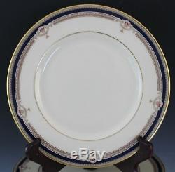 8 Pc Vintage Lenox Buchanan Porcelain Presidential Cobalt Tan Dinner Plate Set