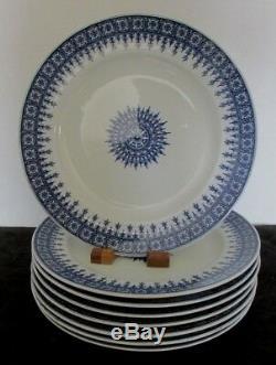 8 Pcs Antique Royal Worcester England Boston Pat Blue Trans 9 3/4 Dinner Plates