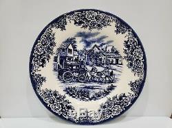 8 Royal Stafford Blue Coaching Stoke Thanksgiving Fall Harvest Dinner Plates 11