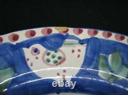 8 Vintage Early Vietri Solimene Campagna-Chicken Royal Blue Pesce Dinner Plates