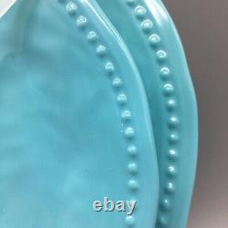 8pc Tommy Bahama Melamine 4 Dinner 4 Salad Plate Set Aqua Blue Wave Dotted Edge