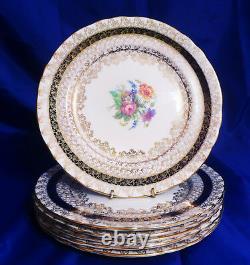 AYNSLEY Dinner Plates (6) COBALT BLUE BAND, GOLD FILIGREE, FLORAL CTR, SCALLOPED