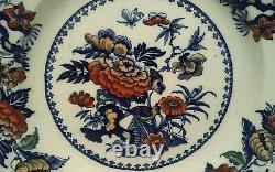 A Rare Wedgwood Bullfinch Flow Blue Polychrome Dinner Plate