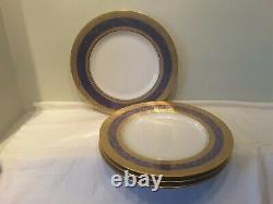 A Set of Four Hutschenreuther Selb Bavaria Blue and Gold Cabinet Dinner Plates