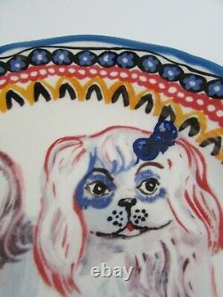 Anthropologie Nathalie Lete Pottery Peckingese Dog Francophile Dinner Plate