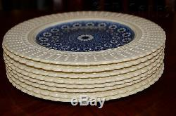Antique 1800s Set 8 Coalport Dinner Plates Kings Ware Cobalt Blue & Ivory Floral