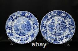 Antique 18th C Swedish Sweden Rorstrand Blue Transfer Ware Dinner Plate Set 7