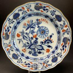 Antique 19th C. Meissen Rich Blue Onion Dinner Plate 9.25 Width Crossed Swords