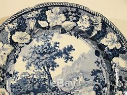 Antique Blue Transfer Enoch Wood Thornton Castle Dinner Plate 1818-1846