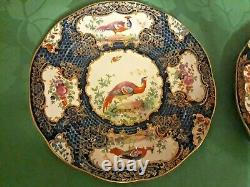 Antique Booths Pair Plates Scale Blue Silicon China Cabinet Bird Worcester style