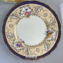 Antique Cauldon For Tiffany & Co Dinner Plates Cobalt 11 Gold Handpainted T1612