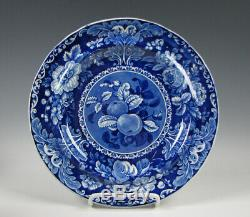 Antique Dark Blue Staffordshire Fruit and Flowers Dinner Plate c. 1825