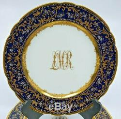 Antique Dresden Monogram Plates Dark Blue & Gold Encrusted & Enameled Set of 12