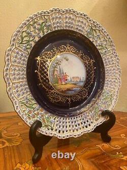 Antique Meissen Reticulated Dresden Lace Porcelain Cobalt Blue Cabinet Plate