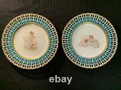Antique Pair of Mintons Reticulated Turquoise Plates Davis Collamore Gorgeous