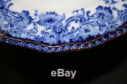 Antique Royal Doulton Melrose Flow Blue, Scroll Edge, Gold Trim Dinner Plate