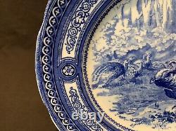 Antique Royal Doulton Turkeys Flow Blue Geometric Dinner Plate 10 1/4 Diameter