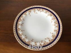 Antique Royal Worcester COBALT BLUE FLORAL W4849 Dinner Plates Set of 9