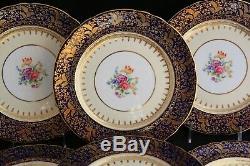 Antique Set 6 Ansley England 6841 Cobalt Gold Encrusted Floral Dinner Plates
