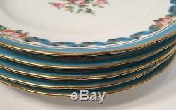 Antique Set of 5 Minton Gold & Celeste Blue Gilt 9 Dinner Plates 1861 Mark