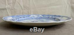 Antique Staffordshire Blue Transferware Dinner Plate Belzoni Hunting Ostriches