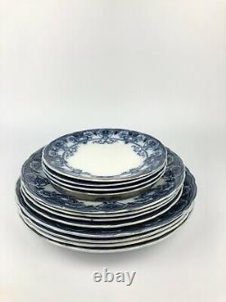 Antique Victorian F & Sons Burslem Devon Flow Blue White Dinner Set Plates 16X