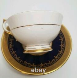 Aynsley GEORGIAN COBALT SMOOTH Tea Cup & Saucer Set 7348 READ #1