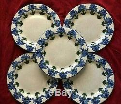 BACHELOR BUTTON BLUE Cornflower Louisville Stoneware 11 DINNER PLATE Set of 5