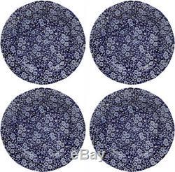 BURLEIGH CALICO BLUE 4 x DINNER PLATES (10.5 / 26.5cm) NEWithUNUSED