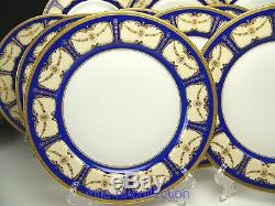 Beautiful Limoges Blue Roses Gold Encrusted Dinner Plates Set Of 12
