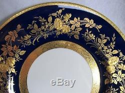 Beautiful Minton Cobalt Blue & Gold 10 3/4 Dinner Plate With Heavy Gold Flowers