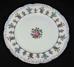 Bernardaud Limoges CHATEAUBRIAND BLUE, Green Red Backstamp Dinner Plate, 10 1/4