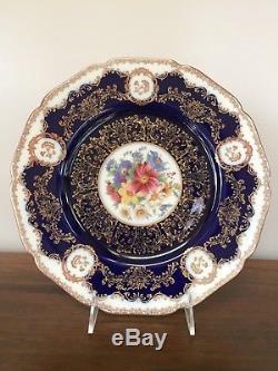 Black Knight COBALT BLUE FLORAL Dinner Plates # 506 Set of 11