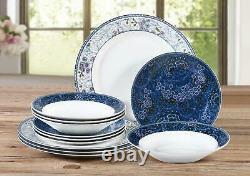 Blue 12 Pieces Stoneware Porcelain Crockery Dinner Set Plates Bowls Dinnerware