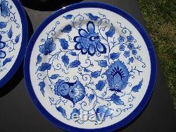 Bombay Company Blue & White China (9) Matching Round Plates 10 7/8 Dia, Unused