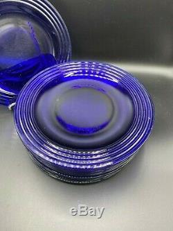 Bormiolo Rocco Forum Saphir Cobalt Blue Glass Dinner Plates Set of 14