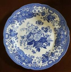 Brand New (4) Spode Blue Room Collection Blue White Roses Garden Dinner Plates