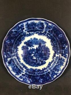 Burgess & Leigh Non Pareil 9 7/8 Plate Set 4 Flow Blue Antique Middleport WS7