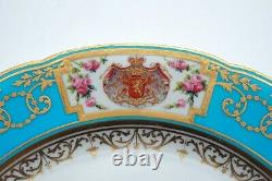 C 18TH SEVRES ROYAL HAND PAINTED PLATE ARMORIAL Coat Arms Crest vase