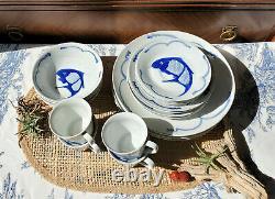 Chinese white ceramic dishes cobalt blue koi goldfish Vtg complete set for 4