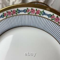 Christian Dior China Dior Rose 8 1/4 Salad Plate Set Of 4 Pink Blue Floral