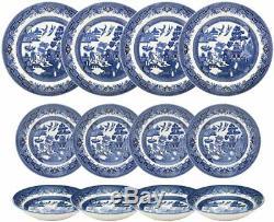 Churchill China Blue Willow Dinner Set, 12 Piece Dinnerware Gift Box WBMB90001
