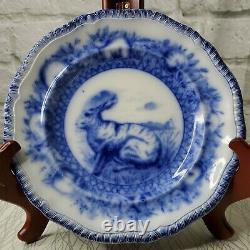 Circa 1904 Copeland Spode Flow Blue 9 1/4 Bunny Rabbit Plate Transferware