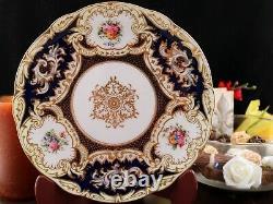 Coalport Antique Dinner Plate 1891-1920 Cobalt Blue 9 7330A Handpainted Flowers