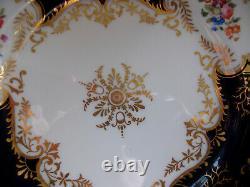 Coalport Panel Cobalt X1002 Gold Center- Dinner Plate 10 1/4- Rare! Excellent