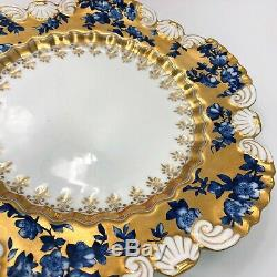 Coalport Plate, Scalloped Shell Shaped Edge, Heavy Gilt, Blue Flowers