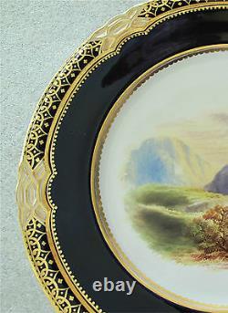 Coalport Scenic Plate x 2 Gap Of Dunloe & Mount Carmel Cobalt Gold Superb 1820's