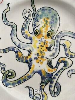 Collectible Nathalie Lete Anthropologie OCTOPUS Dinner Plate Francophile Rare